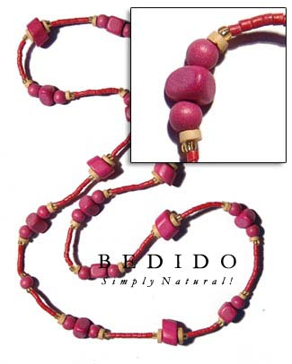 Pink Wood Beads In Bohemian Necklace
