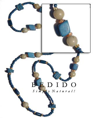 Blue Wood Beads / Bohemian Necklace