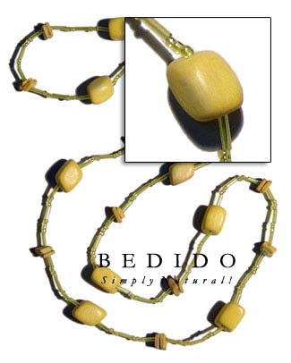Yellow Wood Beads/ Coco Bohemian Necklace
