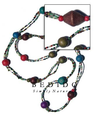 2 Rows Red Cut Bohemian Necklace