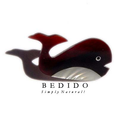 Inlayed Whale Troca Brooch Brooch