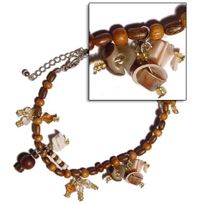 Shell With Wood Beads Anklets