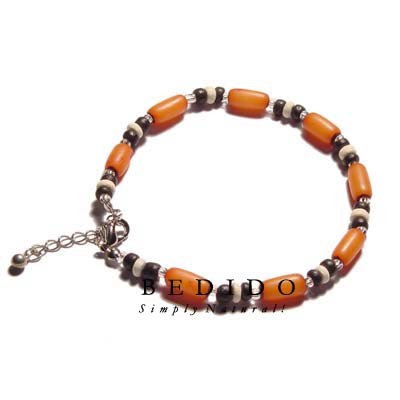Ethnic Orange Buri Natural Anklets