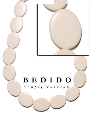 Flat Oval Bone Beads Bone Horn Beads Necklace