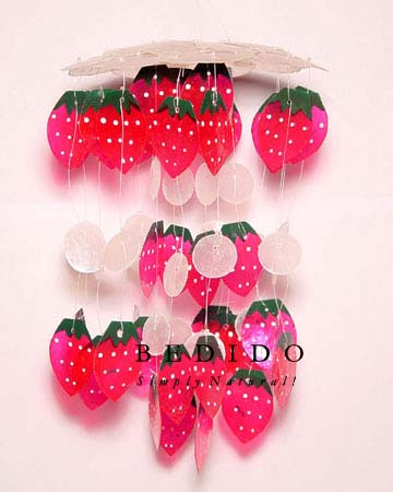 Strawberry Capiz Shells Wind Wind Chimes