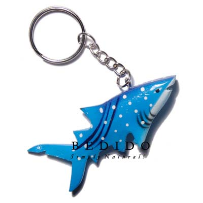 Shark Hand Painted Wooden Keychain
