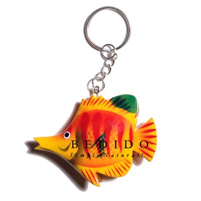 Fish Hand Painted Wooden Keychain
