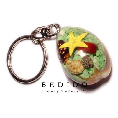 Cowry With Laminated Sea Keychain