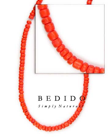 4-5mm Red Orange Coco Coco Beads Coco Necklace
