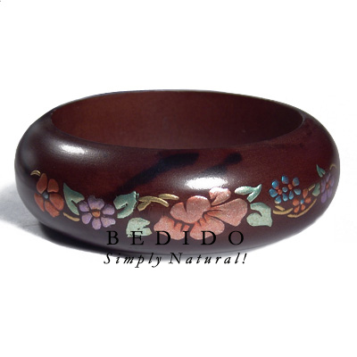 Dark Walnut Tone Wooden Hand Painted Bangles