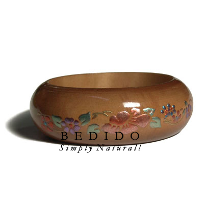 Golden Oak Tone Wooden Hand Painted Bangles