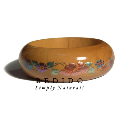 Natural Mahogany Tone Wooden Hand Painted Bangles