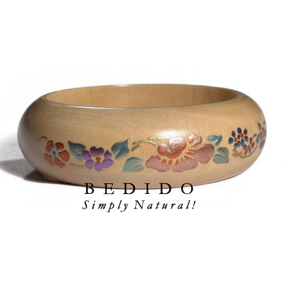 Natural White Wood W/ Hand Painted Bangles