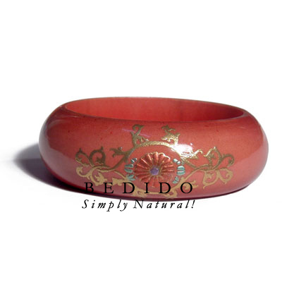 Light Red Mahogany Tone Hand Painted Bangles