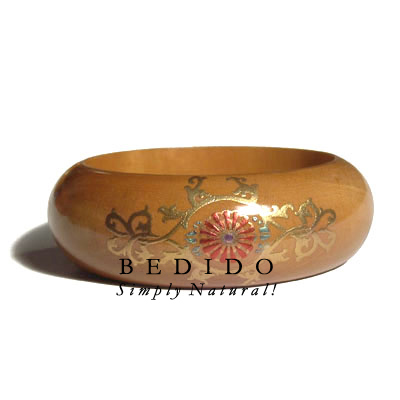 Natural Mahogany Tone Wood Hand Painted Bangles