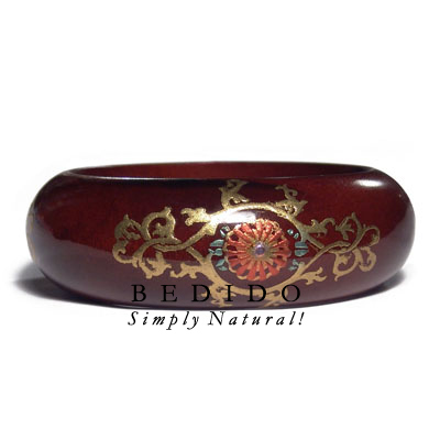 English Chestnut Tone Wooden Hand Painted Bangles