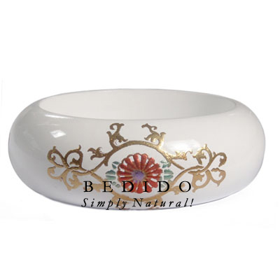 White Stained Wooden Bangle Hand Painted Bangles