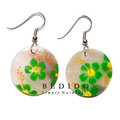 Dangling 35mm Round Hammershell Hand Painted Earrings