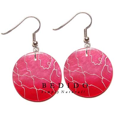 35mm Round Pink Capiz Hand Painted Earrings