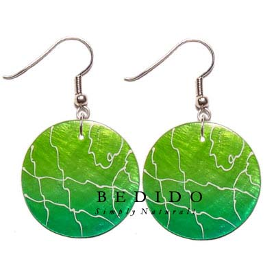 35mm Round Green Capiz Hand Painted Earrings