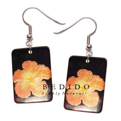 35mm X 25mm Rectangular Hand Painted Earrings