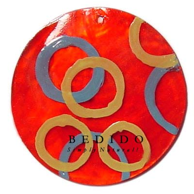 Round Red 50mm Capiz Hand Painted Pendant