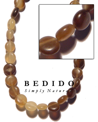 Horn Flat Round Bone Horn Beads Necklace
