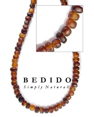 Thick Amber Horn Bead Bone Horn Beads Necklace