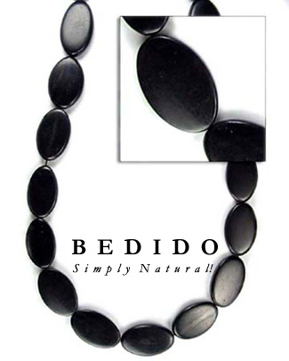 Black Horn Flat Oval Bone Horn Beads Necklace