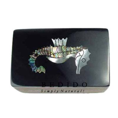 Inlaid Seahorse Design Wooden Jewelry Box