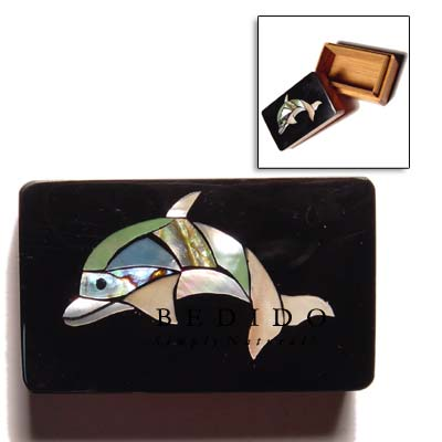 Shell Inlaid Dolphin Design Jewelry Box