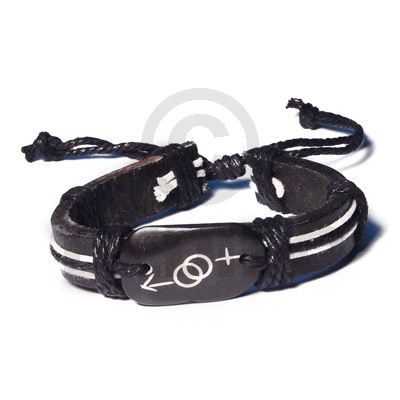 Surfer Leather Bracelet Gender Symbols