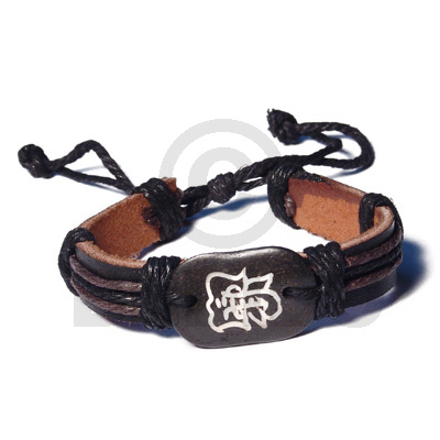 Surfer Leather Bracelet Tribal Character
