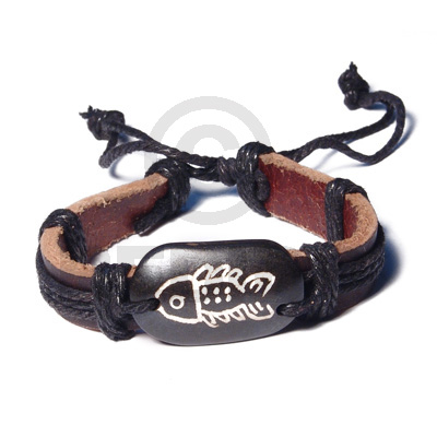 Surfer Leather Bracelet Tribal Fish