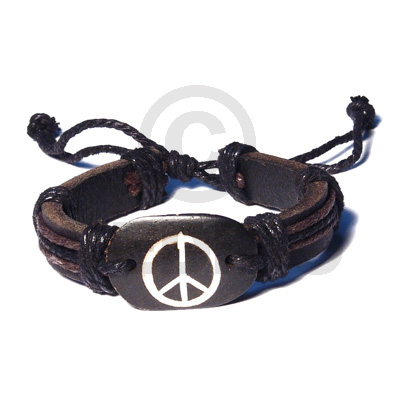 Surfer Leather Bracelet Peace Symbol