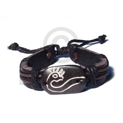 Surfer Leather Bracelet Tribal Animal Symbol