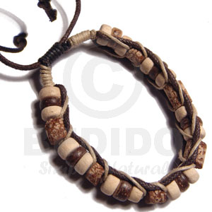 7-8mm Coco Pukalet And Mahogany Cylinder Beads