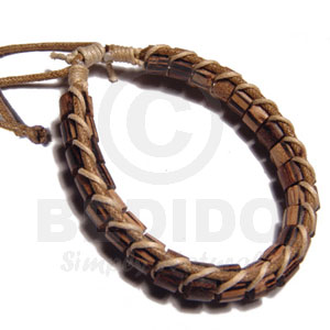 Palmwood Cylinder Wood Beads In Macrame Beige