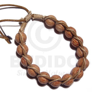 Palmwood Round Wood Beads In Macrame Beige
