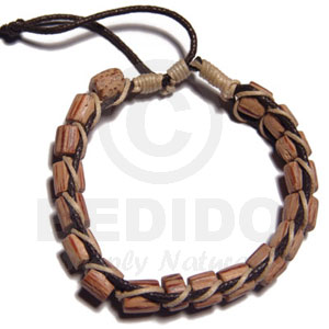 Palmwood Cylinder Wood Beads In Macrame Brown