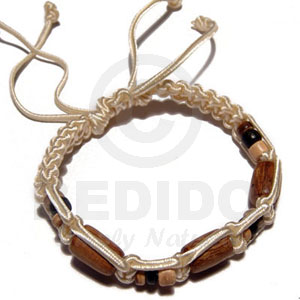 Tube Wood Beads In Macrame Satin Cord