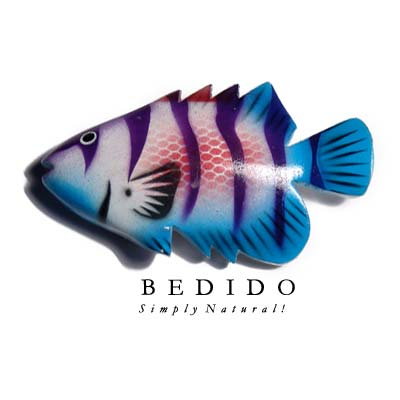 Fish Hand Painted Wood Refrigerator Magnets