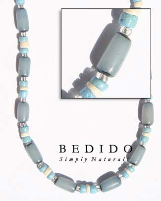 Turquoise Blue Buri Seed Seed Necklace