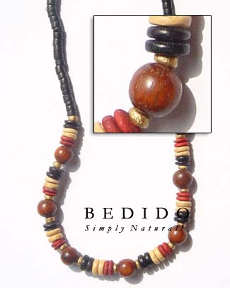 Natural Black With Wood Seed Necklace