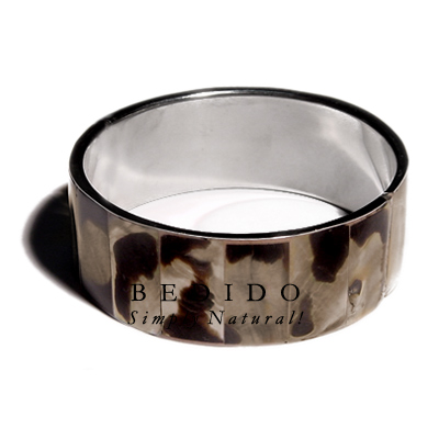 Laminated Inlaid Brownlip Stainless Shell Bangles