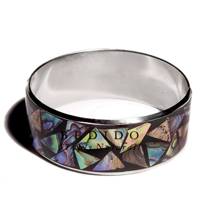 Laminated Inlaid Crazy Cut Shell Bangles