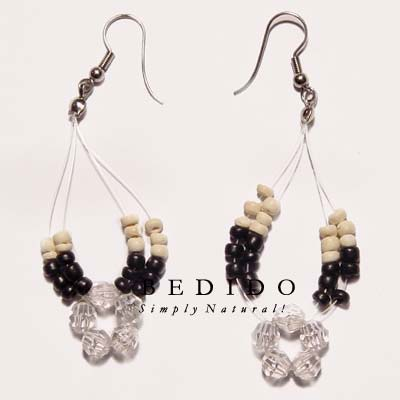 Floating 2-3mm Black Coco Shell Earrings