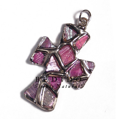 Cross Glistening Pink Abalone Molten Silver Metal Pendant