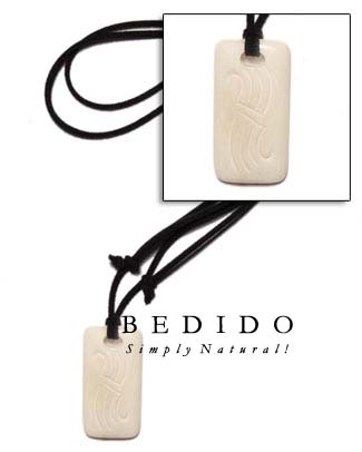 40mmx55mm White Bone Tag Surfer Necklace