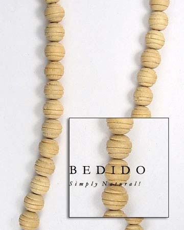 Natural Wood With Groove Wood Beads Wooden Necklace